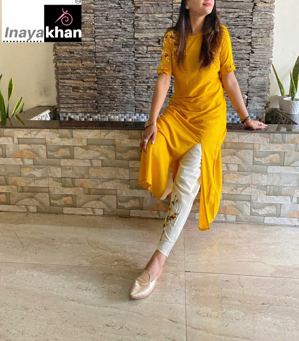 Yellow  Stylish Side Slit Kurta With White Pants