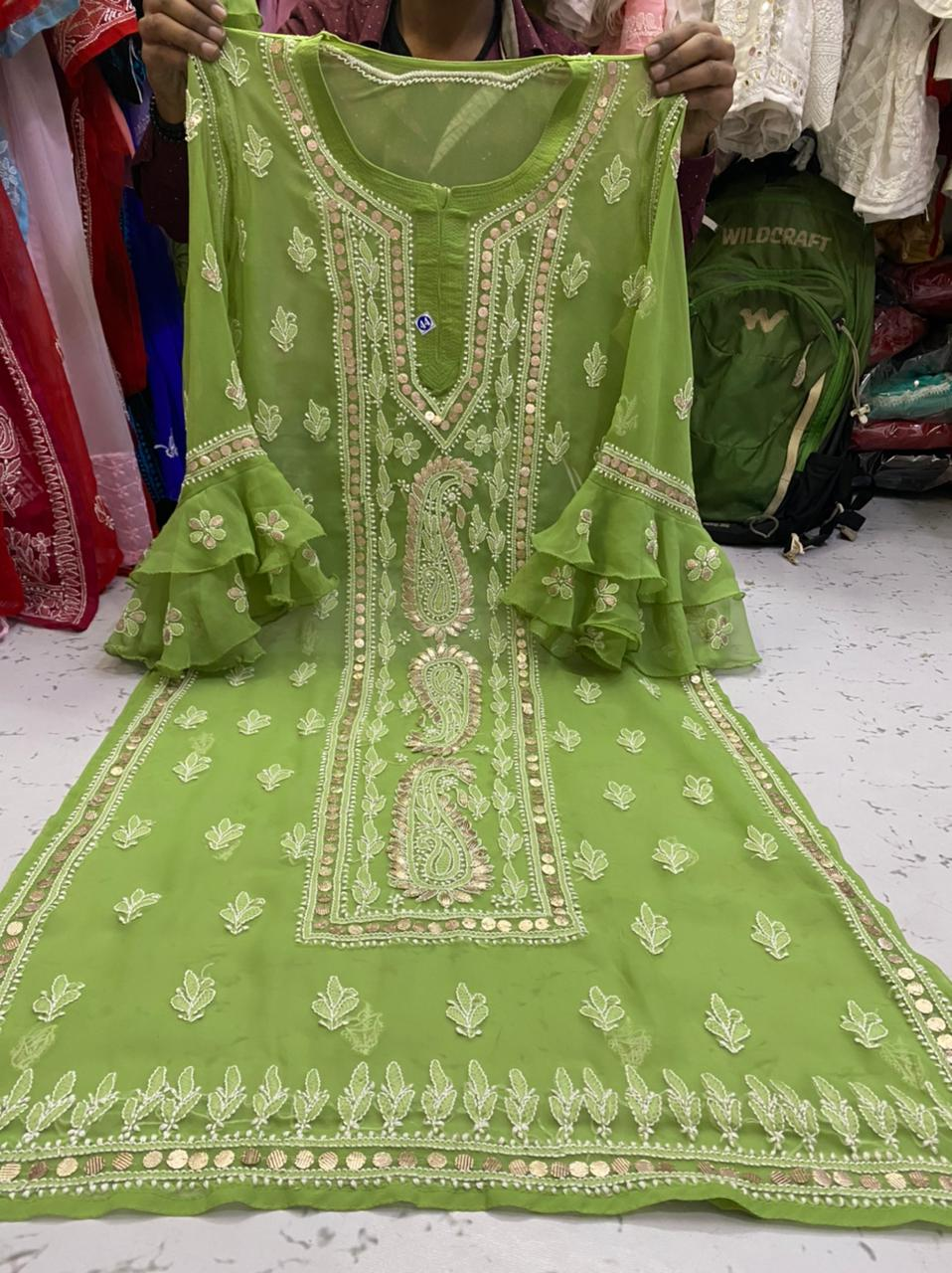 Parrot Green  Gorgette Kurti With Gota Patti Work ( With Inner)