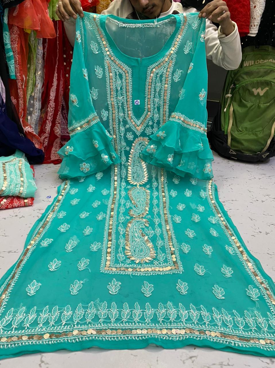 Aqua Blue  Gorgette Kurti With Gota Patti Work ( With Inner)