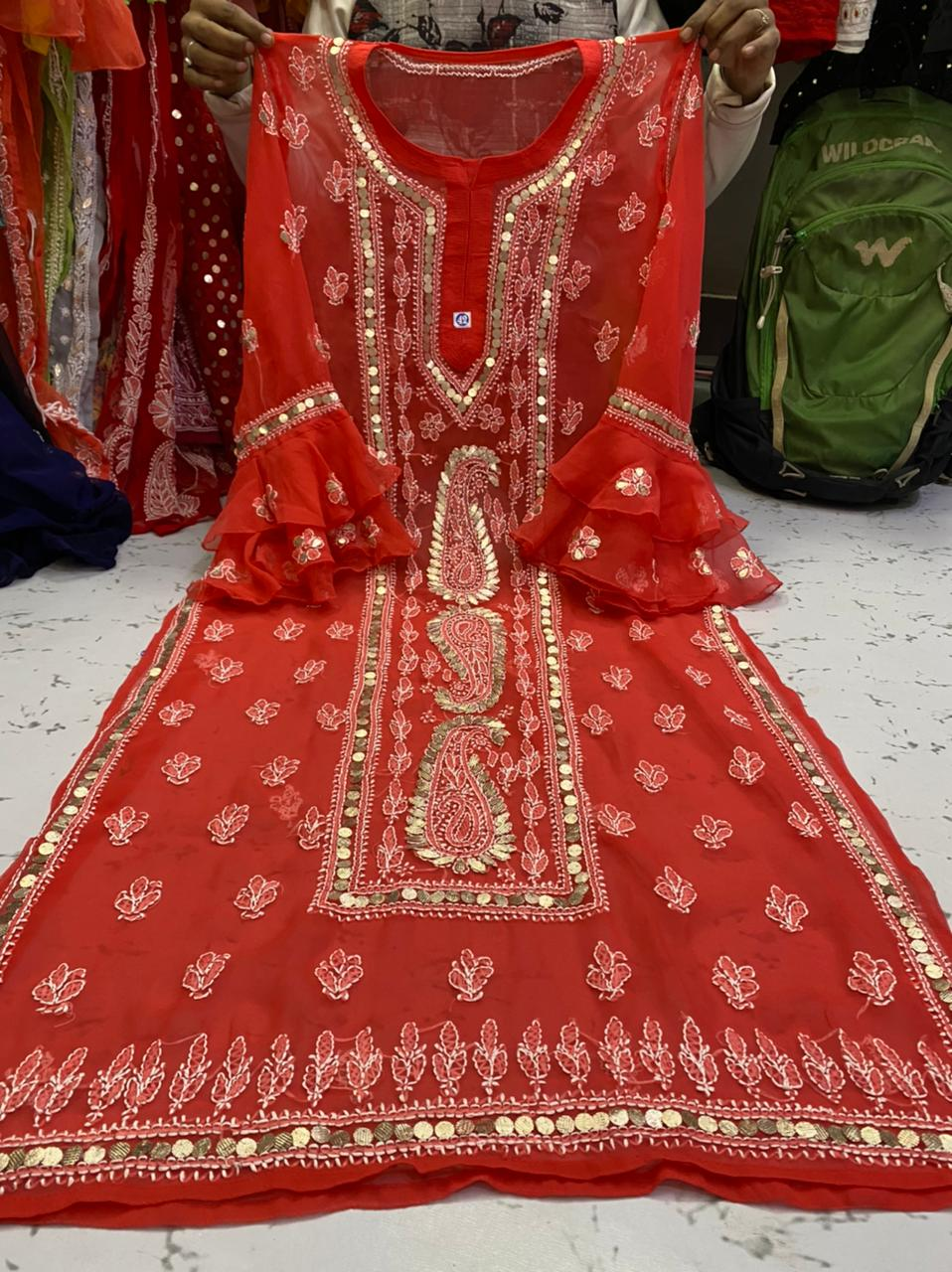 Brick Red  Gorgette Kurti With Gota Patti Work ( With Inner)