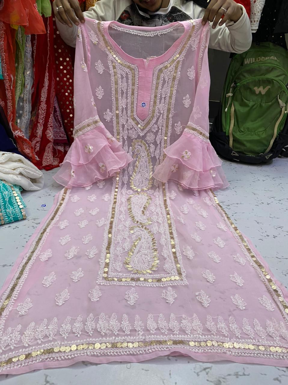 Light Pink  Gorgette Kurti With Gota Patti Work ( With Inner)