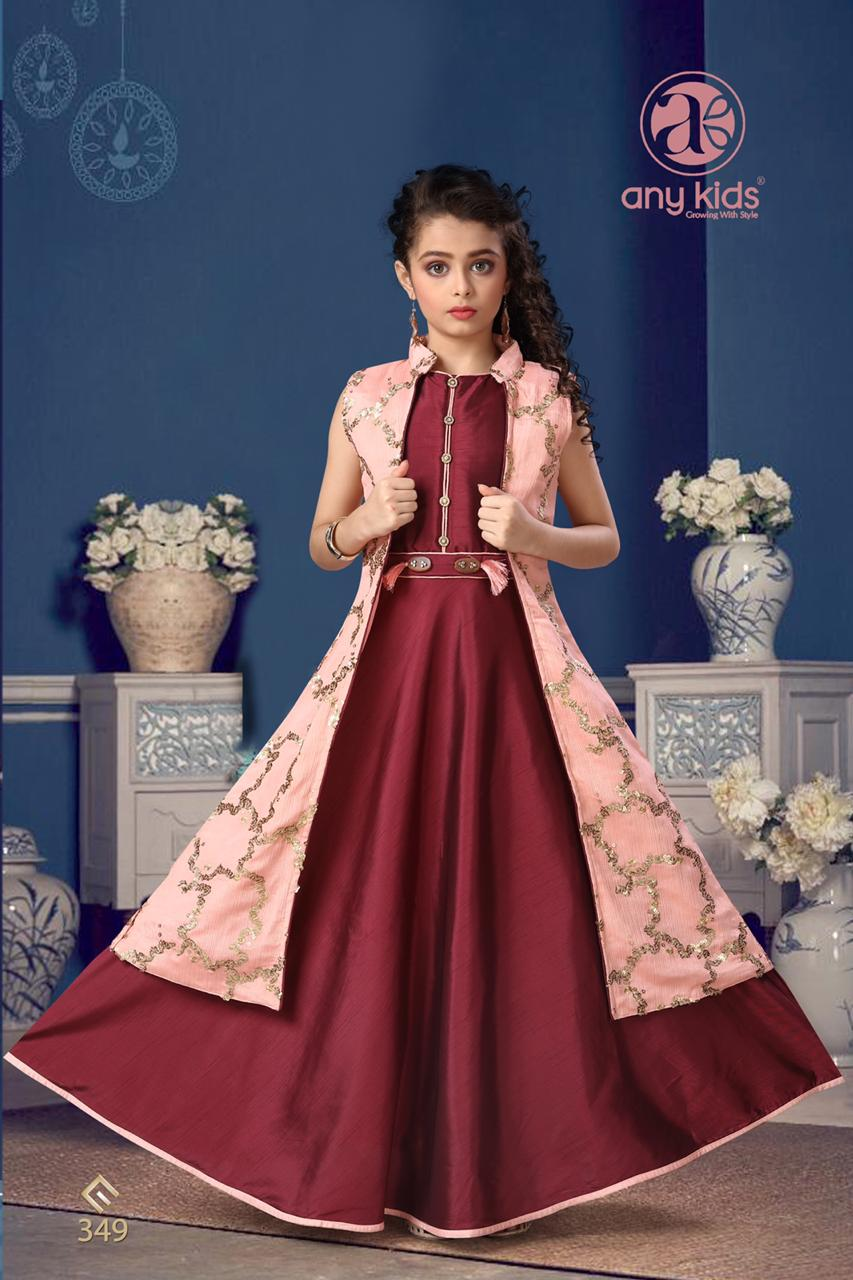 Maroon Jobra Silk Gown With Jacket