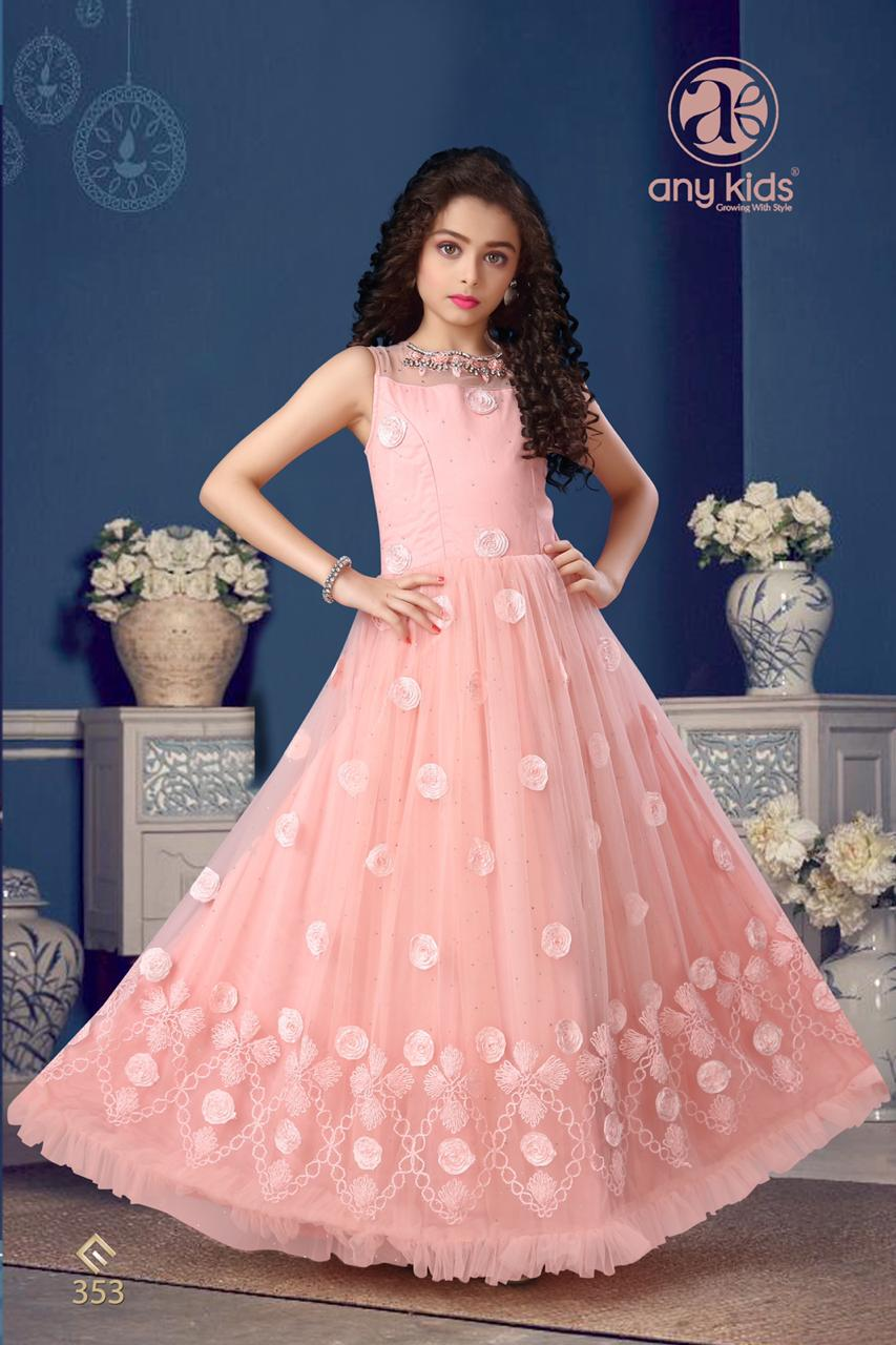 Light Peach Pink Butterfly Net Gown With Handwork