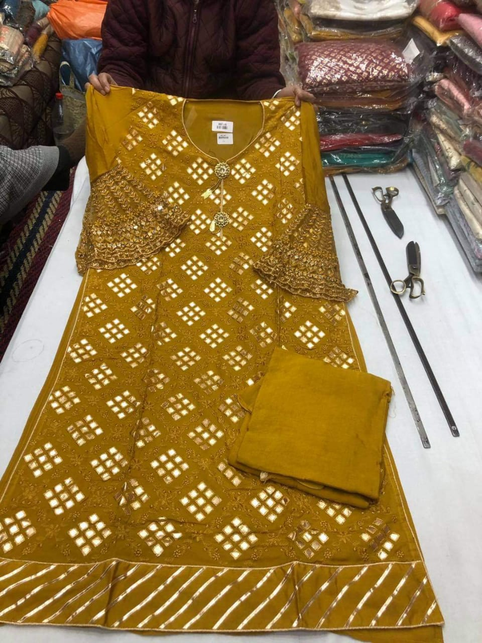 Mustard Yellow  Designer Silk Suit With Dupatta