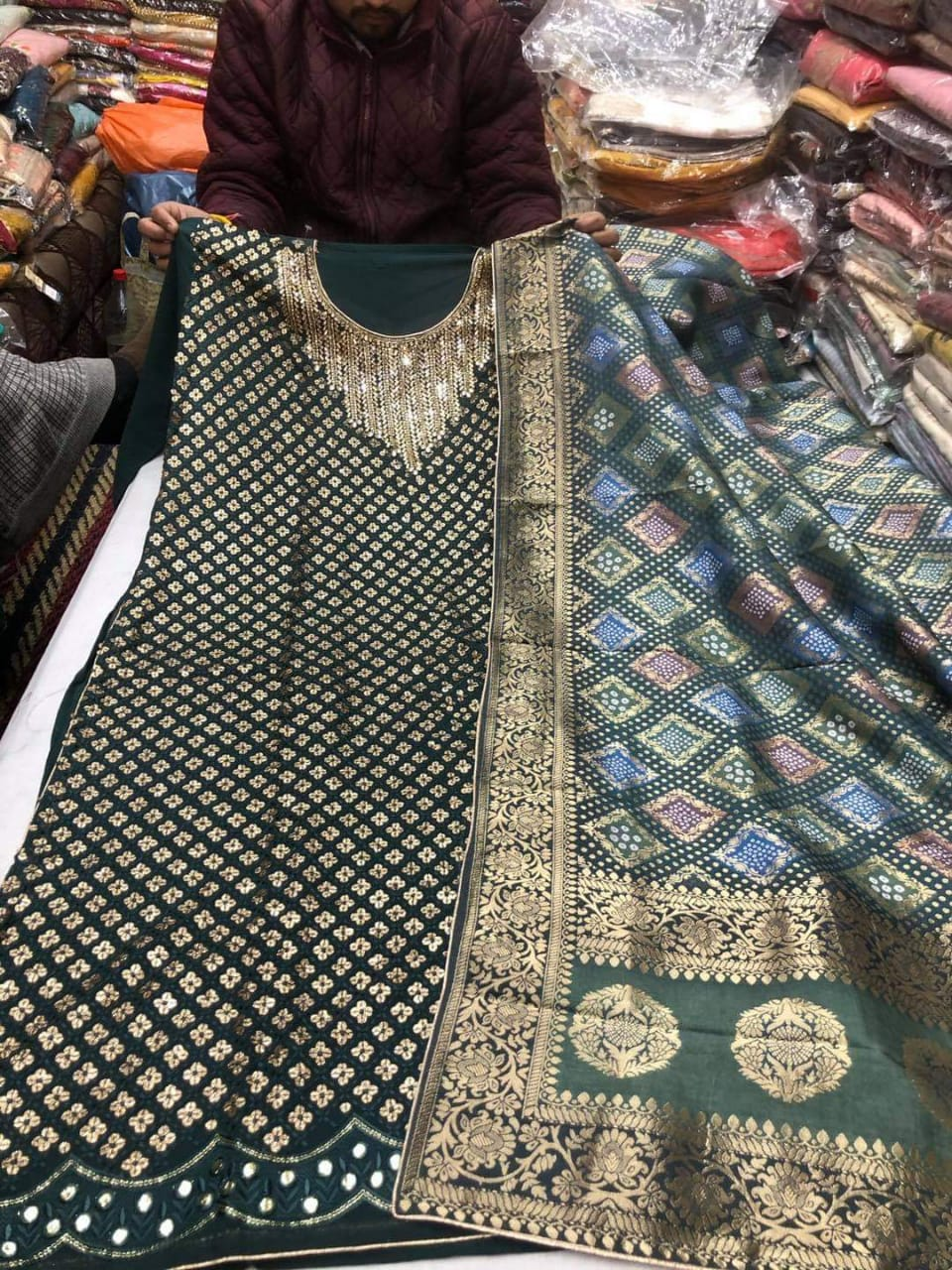 Dark Green With Sequins Work  Designer Silk Suit With Dupatta