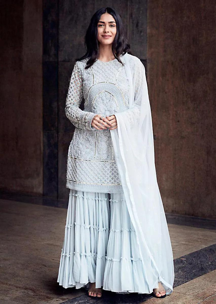 Elegent Sky Blue Georgette Top With Pant & Dupatta