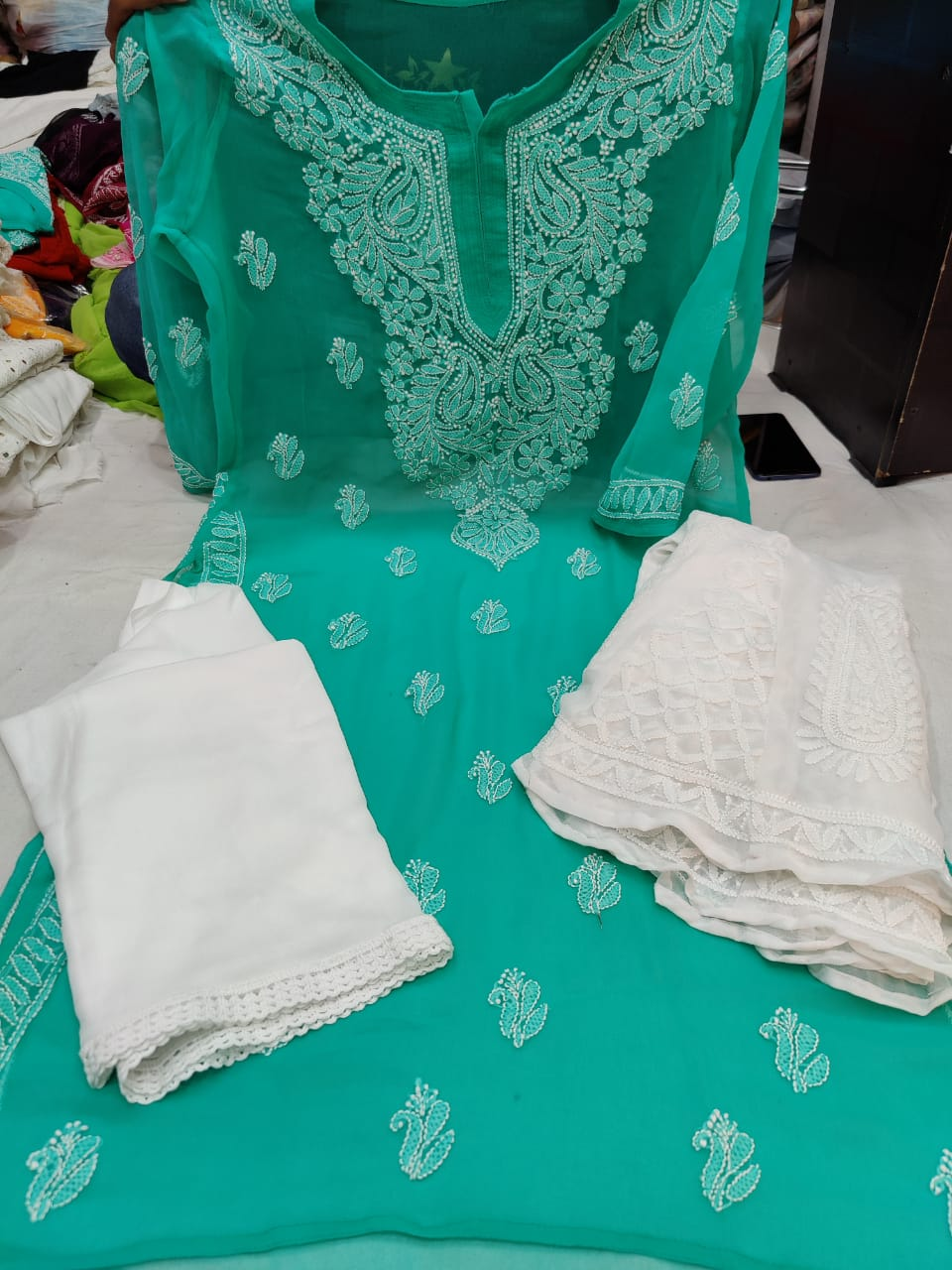 Aqua Green  & White Kashmiri Design Georgette Chikankari Full Set