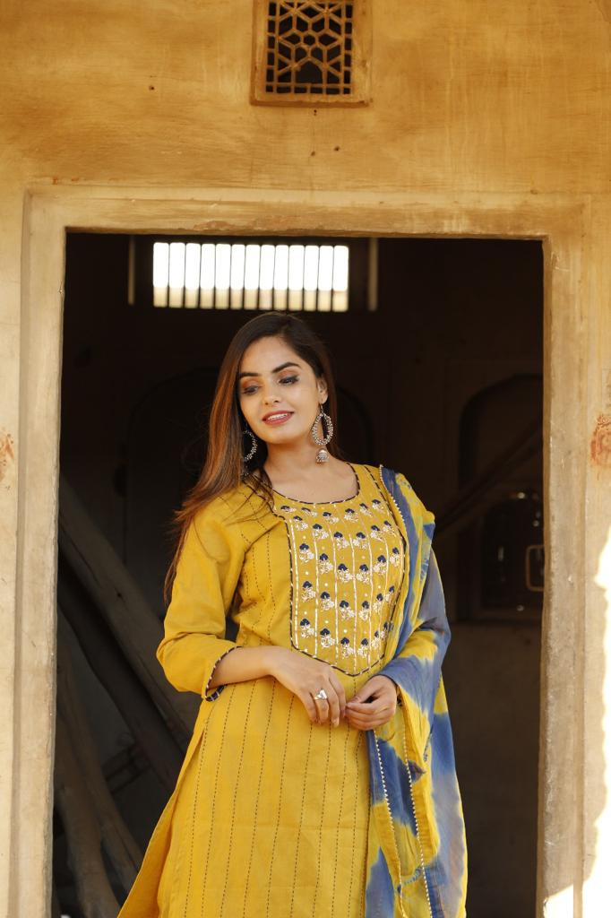 Beautiful Yellow Self Lining Kurti With Pants & Dupatta