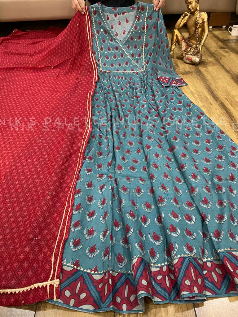 Multi Colour Premium Silk Anarkali Gown