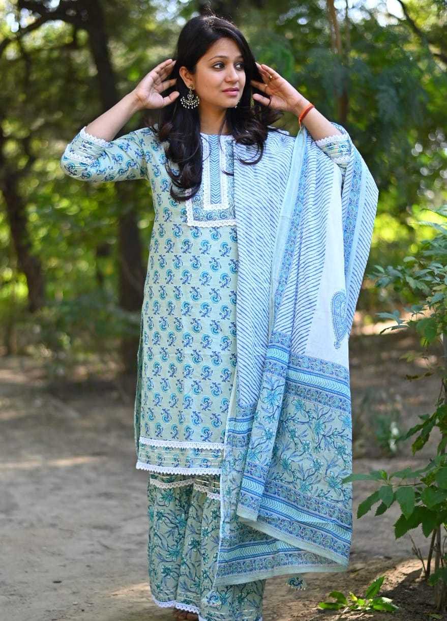 Blue Cotton Sharara Set In Pastels