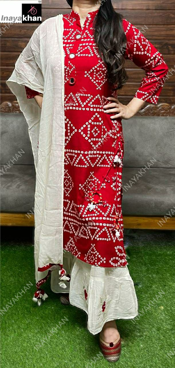 Premium Teton Kurti With Sharara & Dupatta