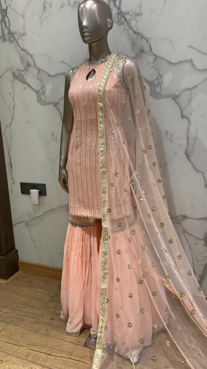 Golden & Light Pink Georgette Kurti With Sharara & Dupatta