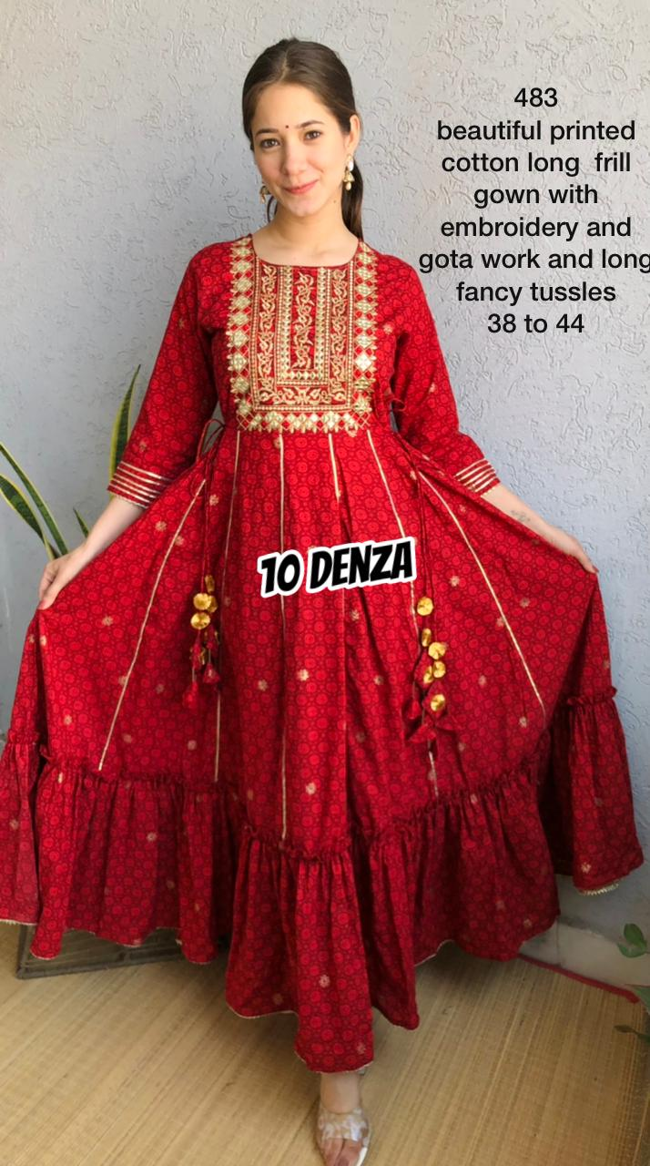 Elegent Red Printed Cotton Gown