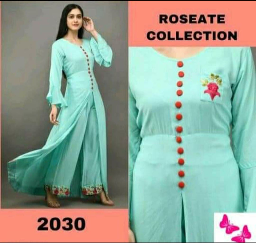 Designer  Sky Blue  Rayon Fabric Kurti with Plazo