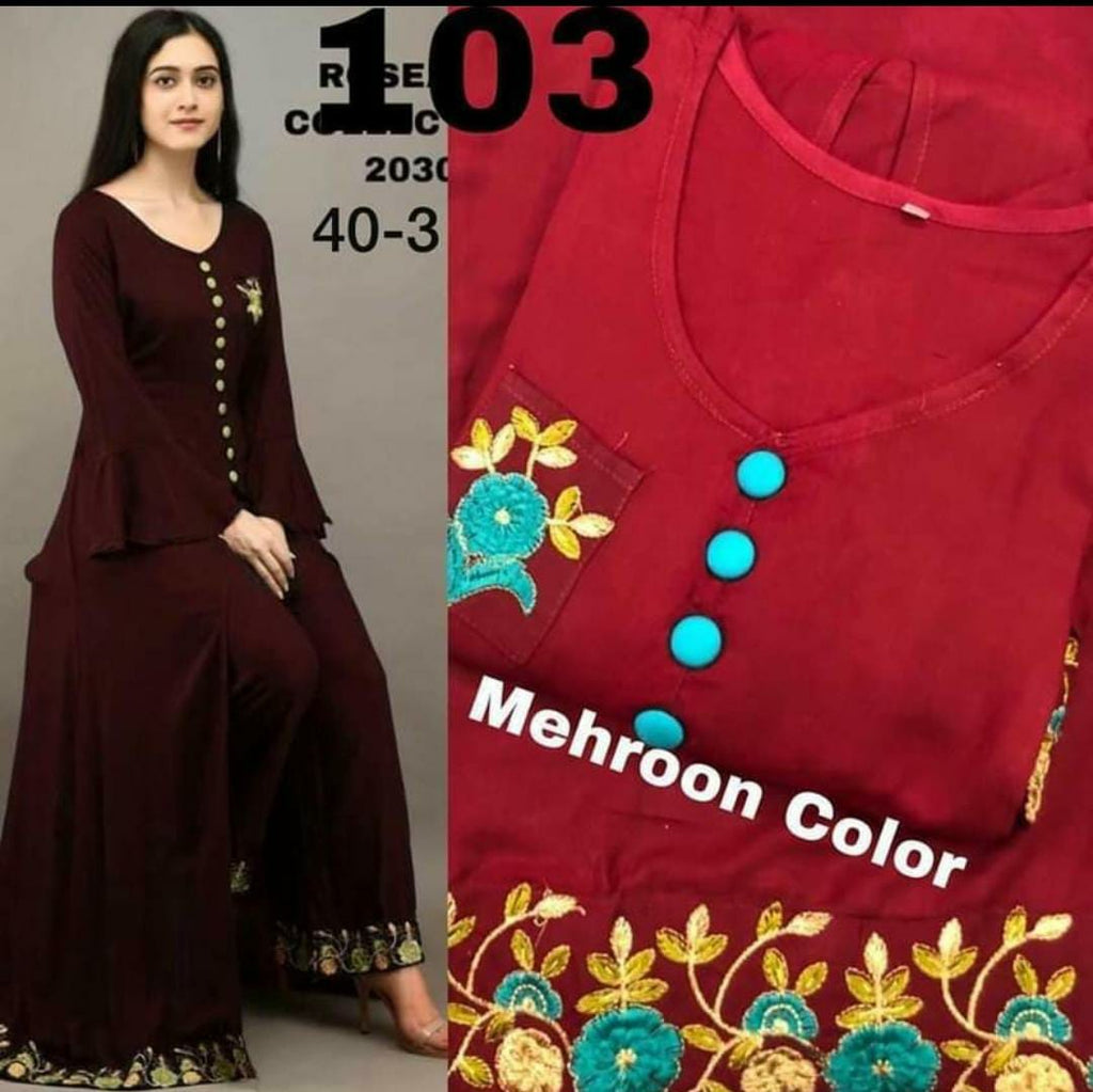 Designer  Maroon Rayon Fabric Kurti with Plazo