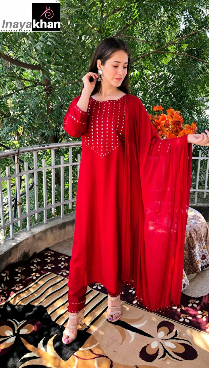 Red Rayon Latest Long Kurtis Pant Suit Designs Online Shopping