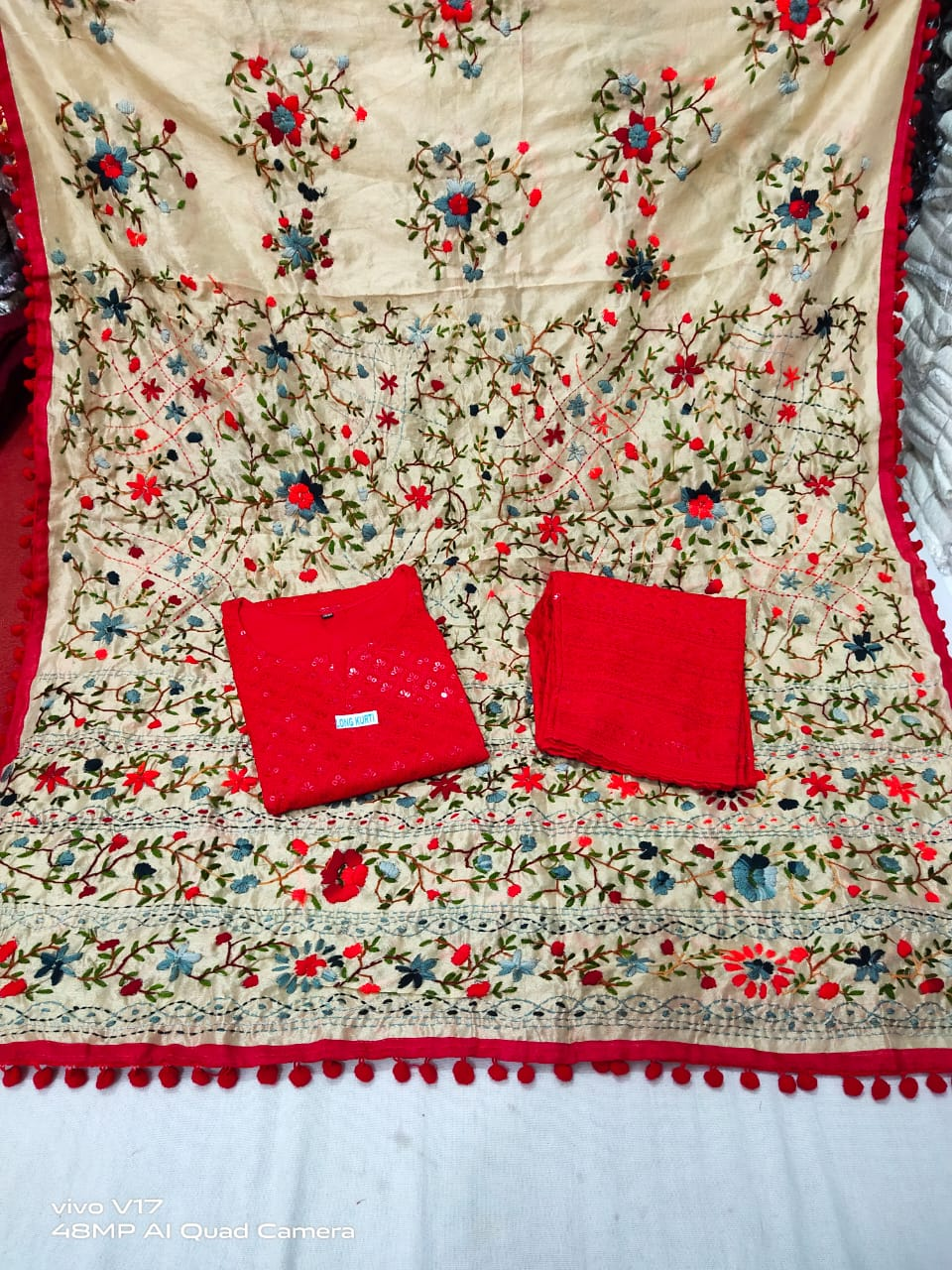 Bright Red Chikankari Kurti Sequins highlights Kashmiri heavy work raw silk  Dupatta
