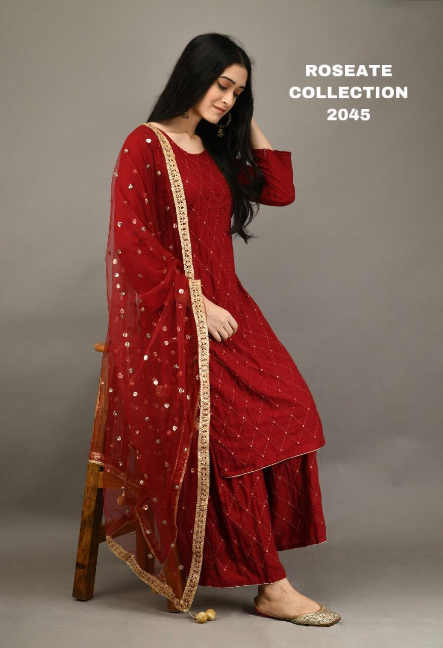 Red 3 Pc Kurti Pallazo with Embroidery work and Sequins work Dupatta