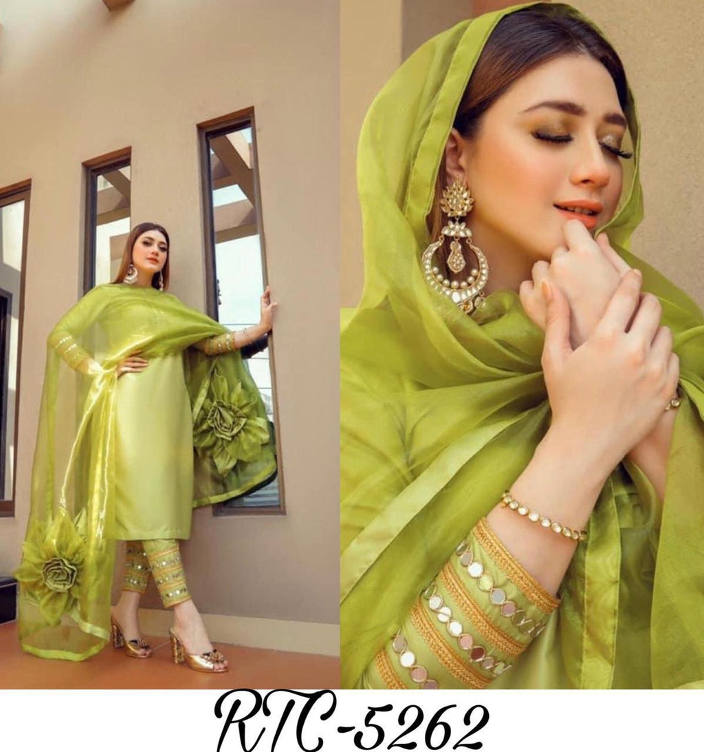 Pista Green Organza Stylish Kurti Pant Style Suits Fashion Online