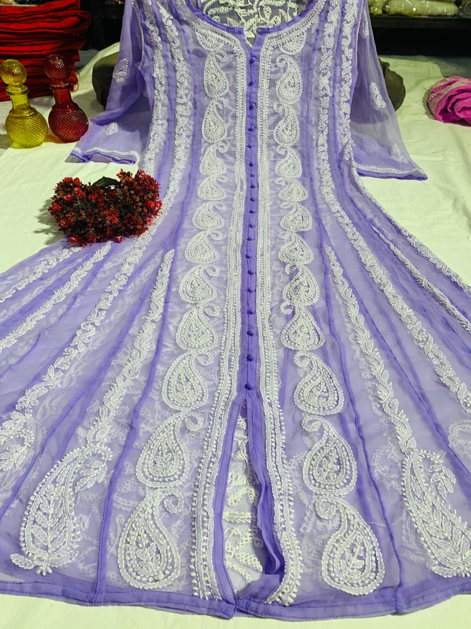 Lavender Chiffon Lucknawi Chikankari Anarkali Indian Dress Online