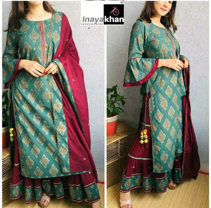 Light Teal Cotton Gold Print Bell Sleeve Latest Kurti Sharara Suits Shopping