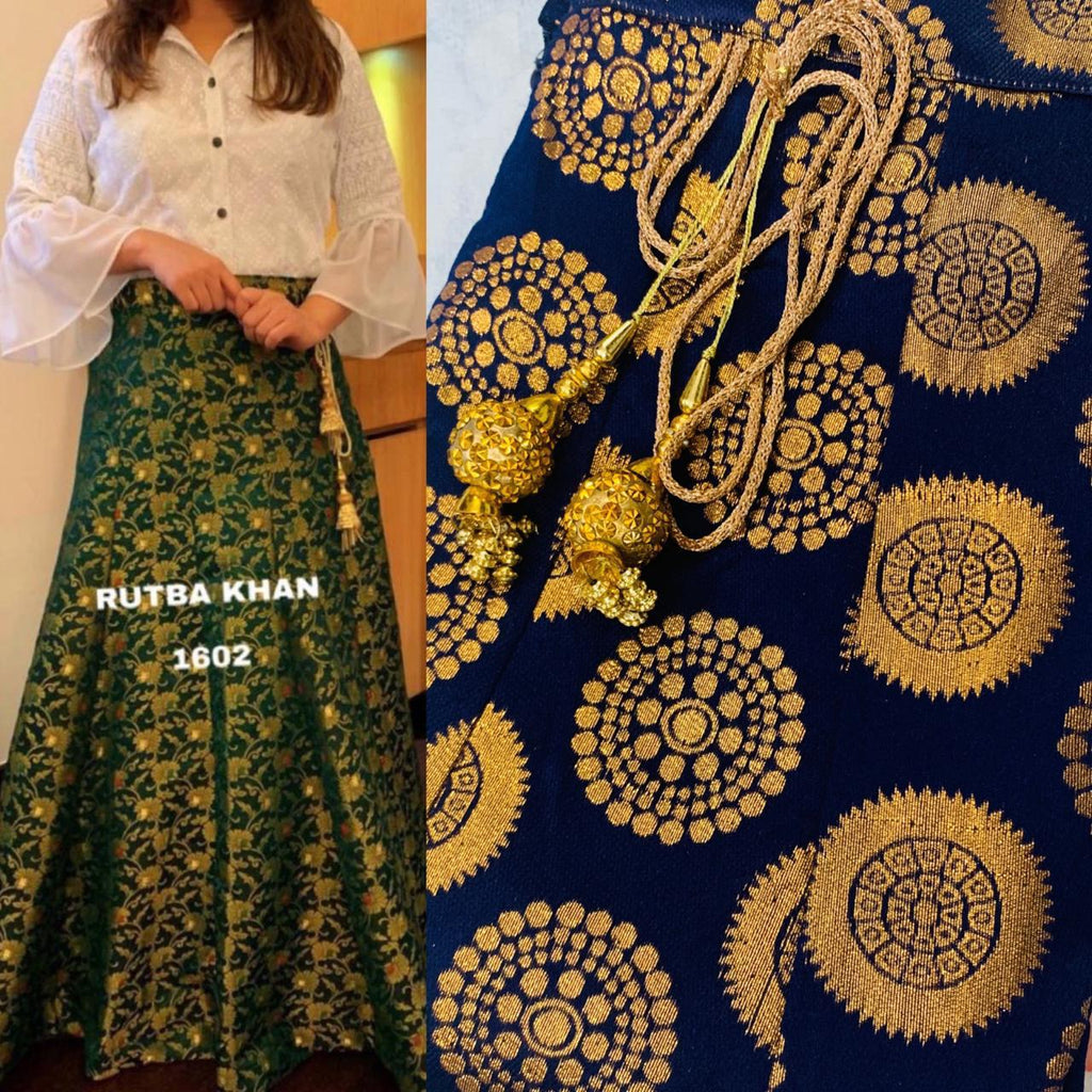 Navy Blue Brocade Skirt With White Shirt Indian Dress Online