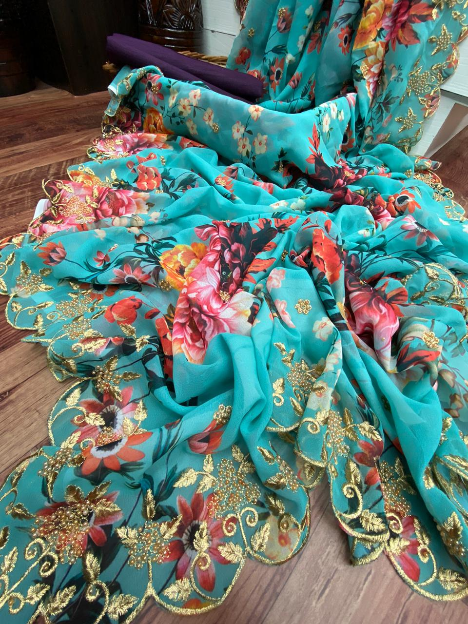 Aqua Blue Floral Print Border Embroidery Fancy Online Saree Purchase