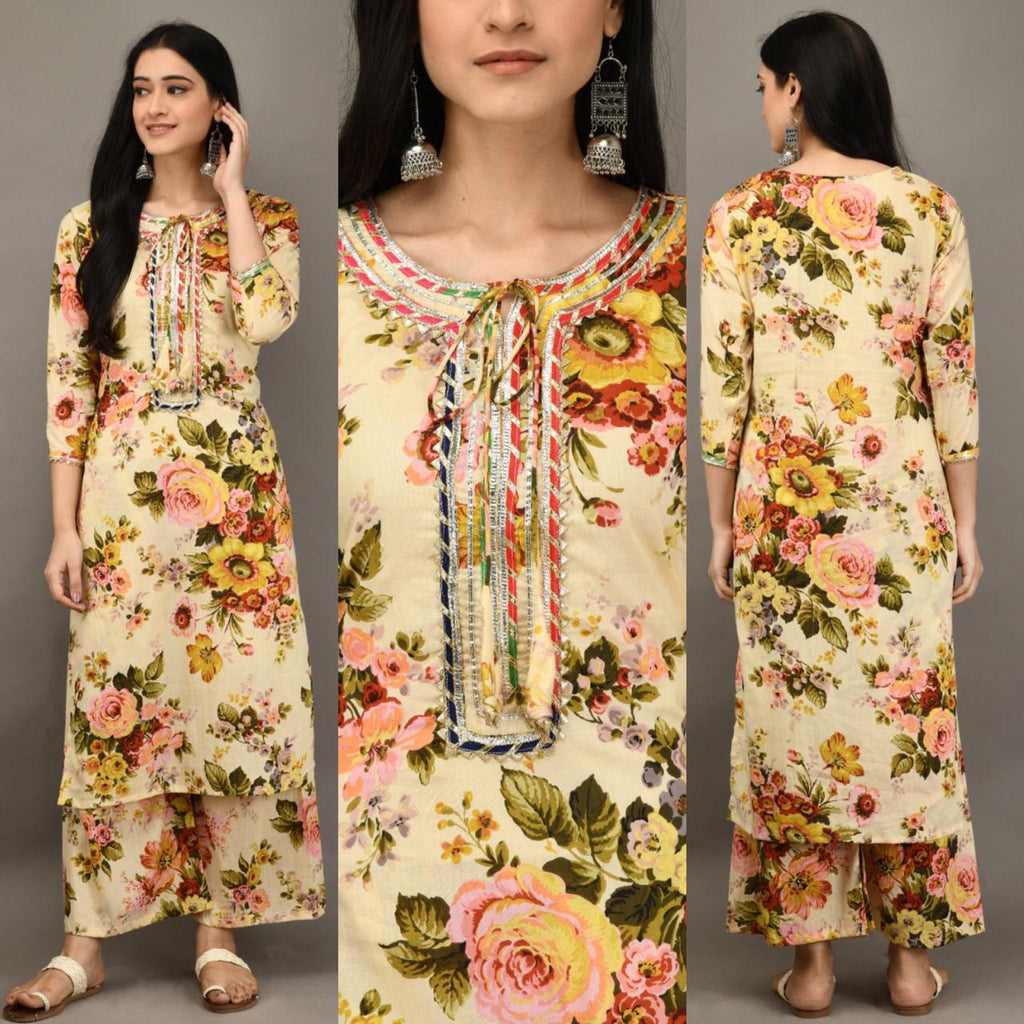 Cream Cotton Floral Print Indian Kurti Palazzo Salwar Suits Online