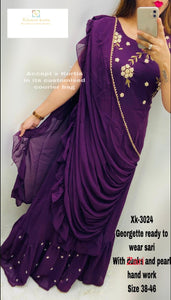 Dark Purple Georgette readymade saree with Zari and pearl Handwork