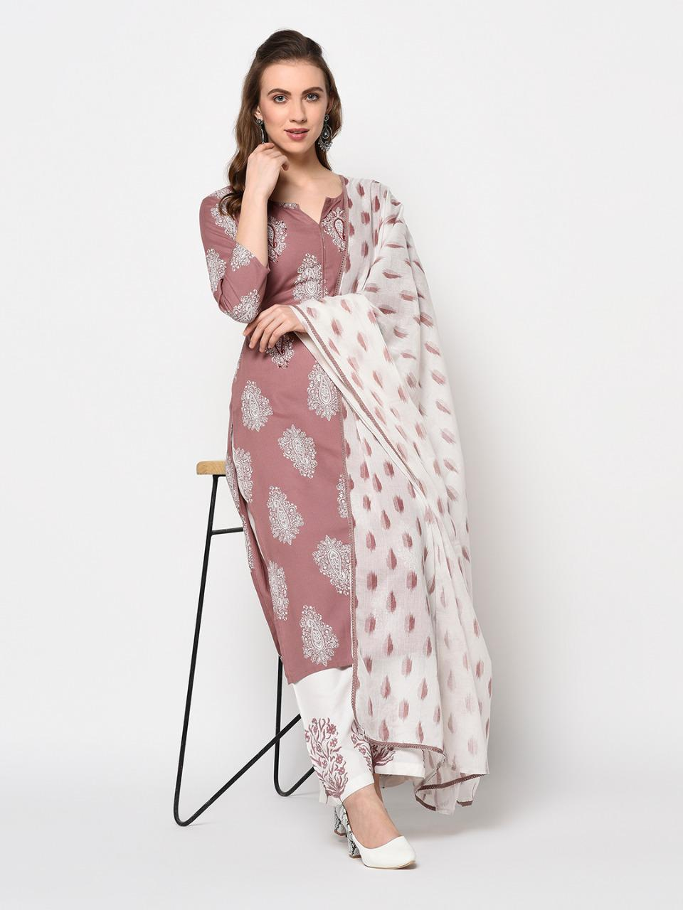 Dusty Rose Cotton Jaipuri Kurta Palazzo Dupatta Set
