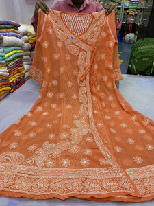 Orange Peach Georgette Angrakha Anarkali Indian Outfits Online
