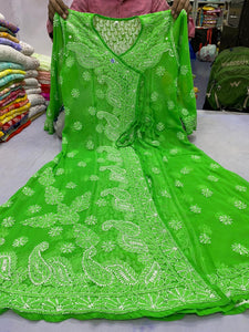 Green Georgette Angrakha Style Kurtis Online Shopping