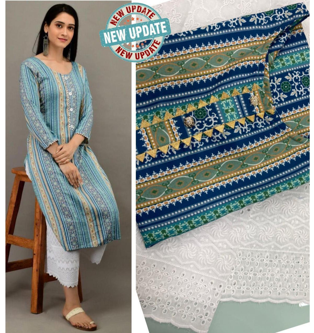 Blue Mix Cotton Print Latest Designs Kurti Pallazo Suits Online