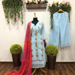Pastel Blue Embroidered Kurti Palazzo Suits Online Shopping