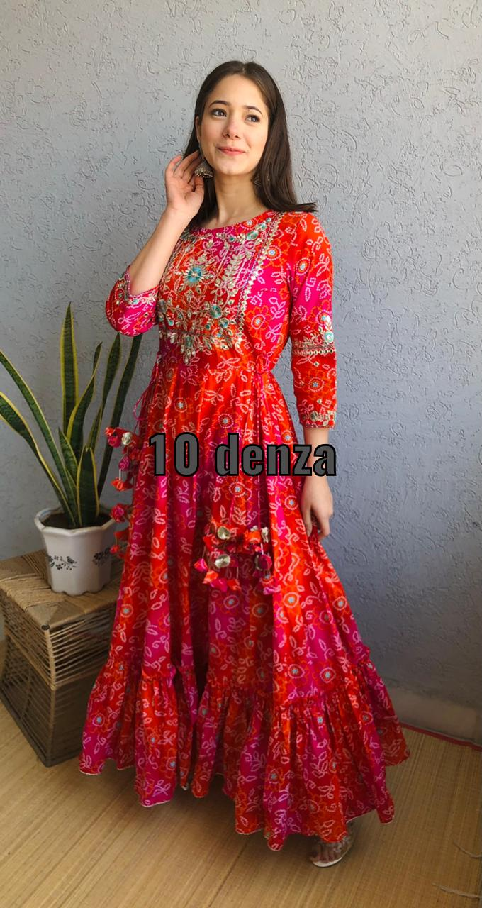 One Piece Red Cotton Embroidery and Mirror Work Kurti  Dresses