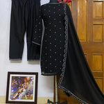 Black Georgette Zari Embroidered Kurti Pant Set Online Shopping