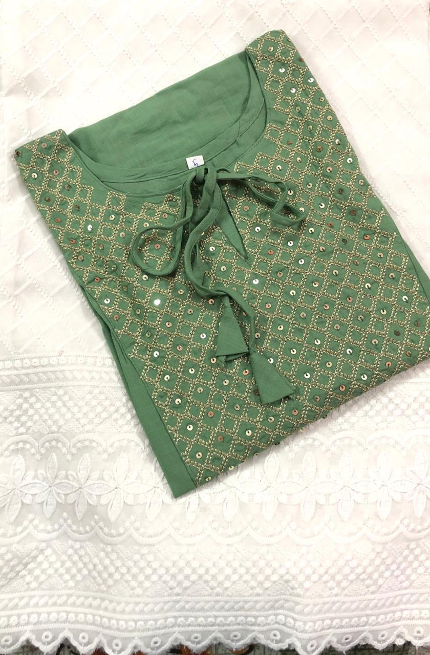 Rutba Khan Light Green Rayon Embroidered Kurti Palazzo Suits Online