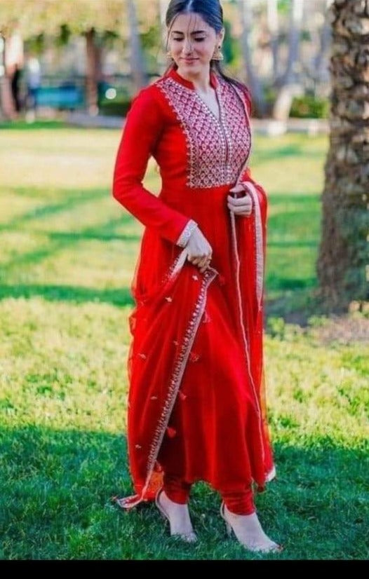 Red Rayon Indian Kurti Suit Salwar Kameez Online Buy