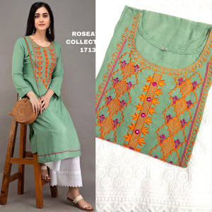 Light Green Rayon Embroidered Kurti Palazzo Indian Salwar Suits
