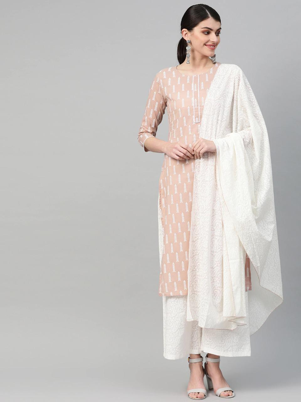 Light Misty Rose Printed Cotton Jaipuri Kurta Palazzo Dupatta Set With Price