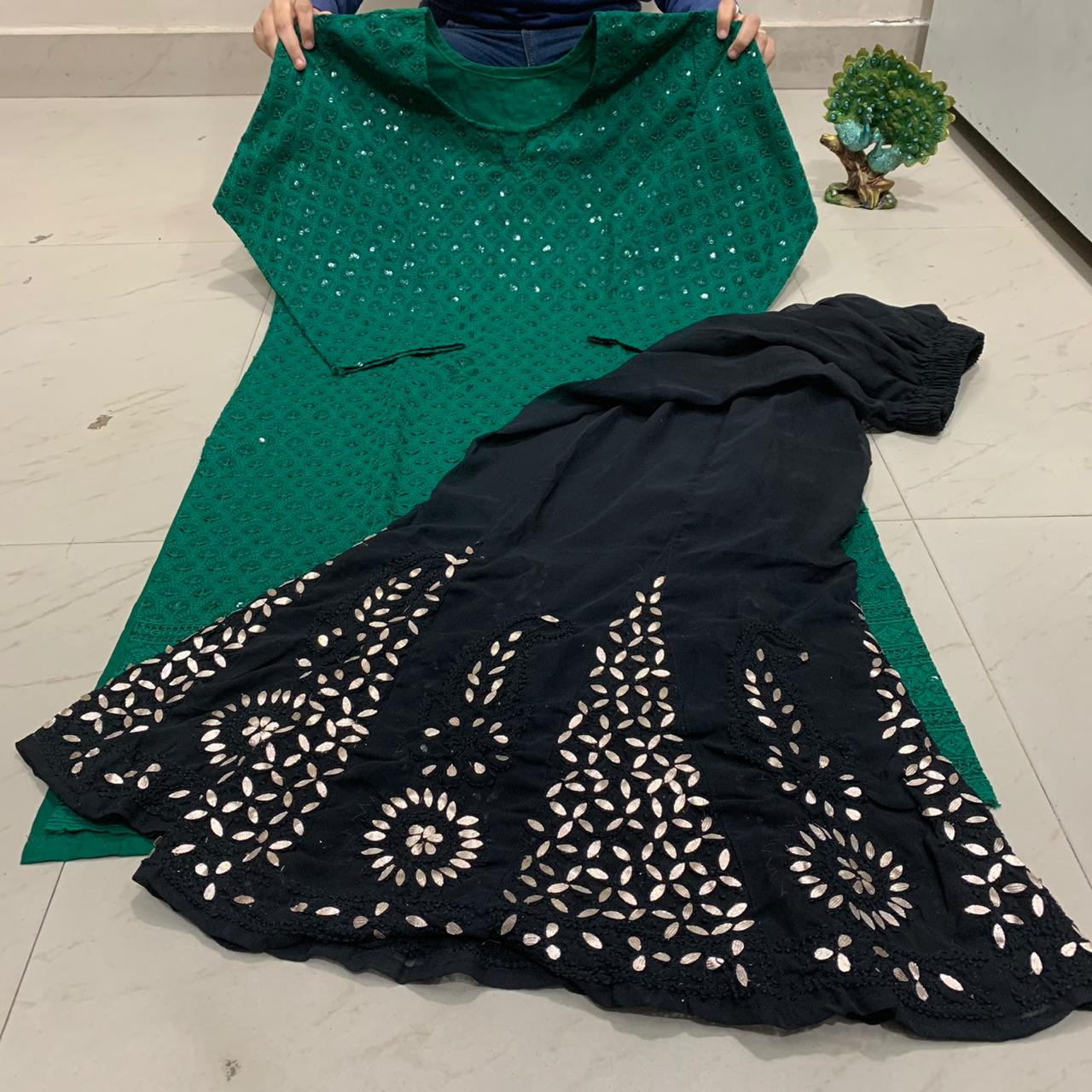 Dark Green And Black Sequin Chikankari Kurti Sharara Indian Suit