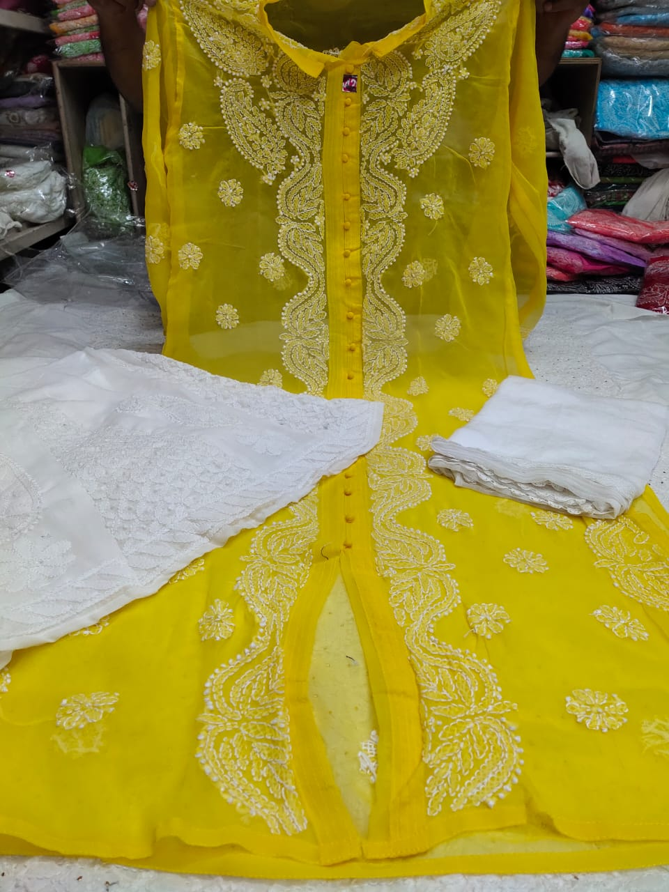 Yellow Georgette Chikan Work Salwar Kurta Online Shopping