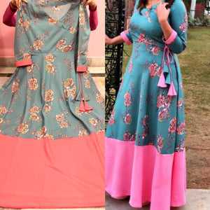 Greyish Blue Angrakha Style  Indian Floral Print Gown Indian Dresses