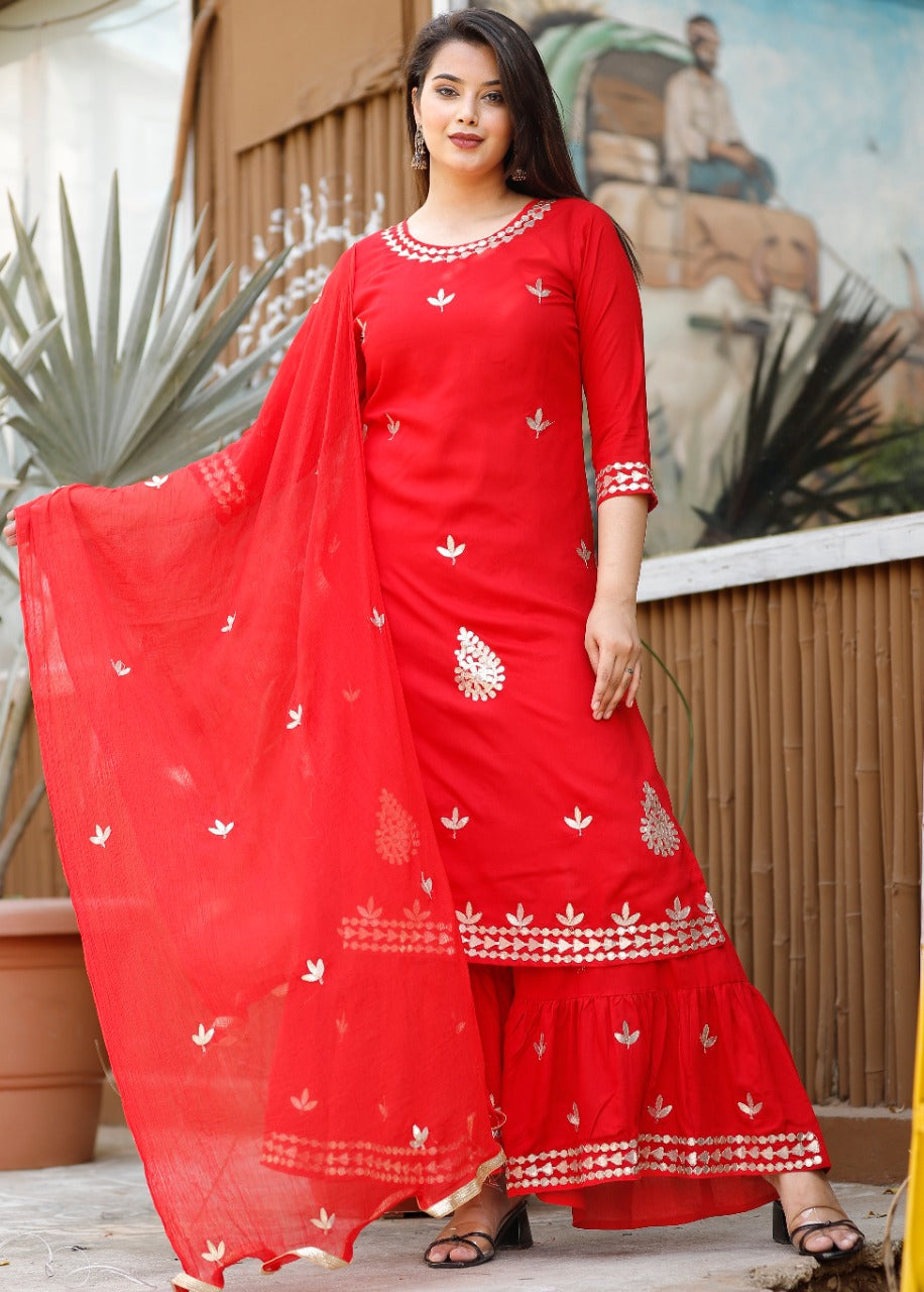 Red Rayon Gota Work Latest Indian Kurti Salwar Suits Online