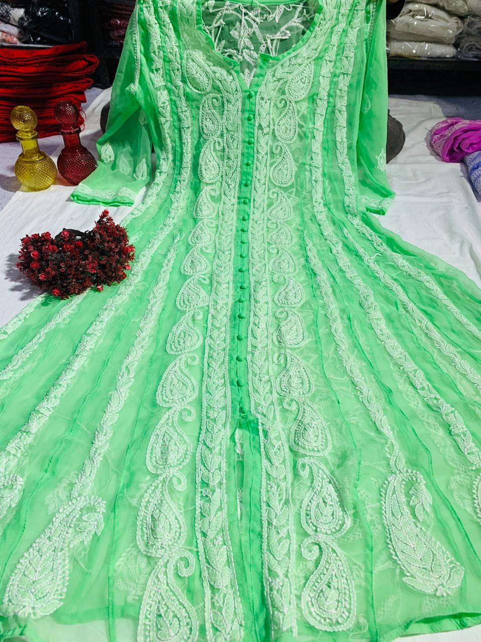 Sea Green Chiffon Lucknawi Chikankari Anarkali Indian Ethnic Wear