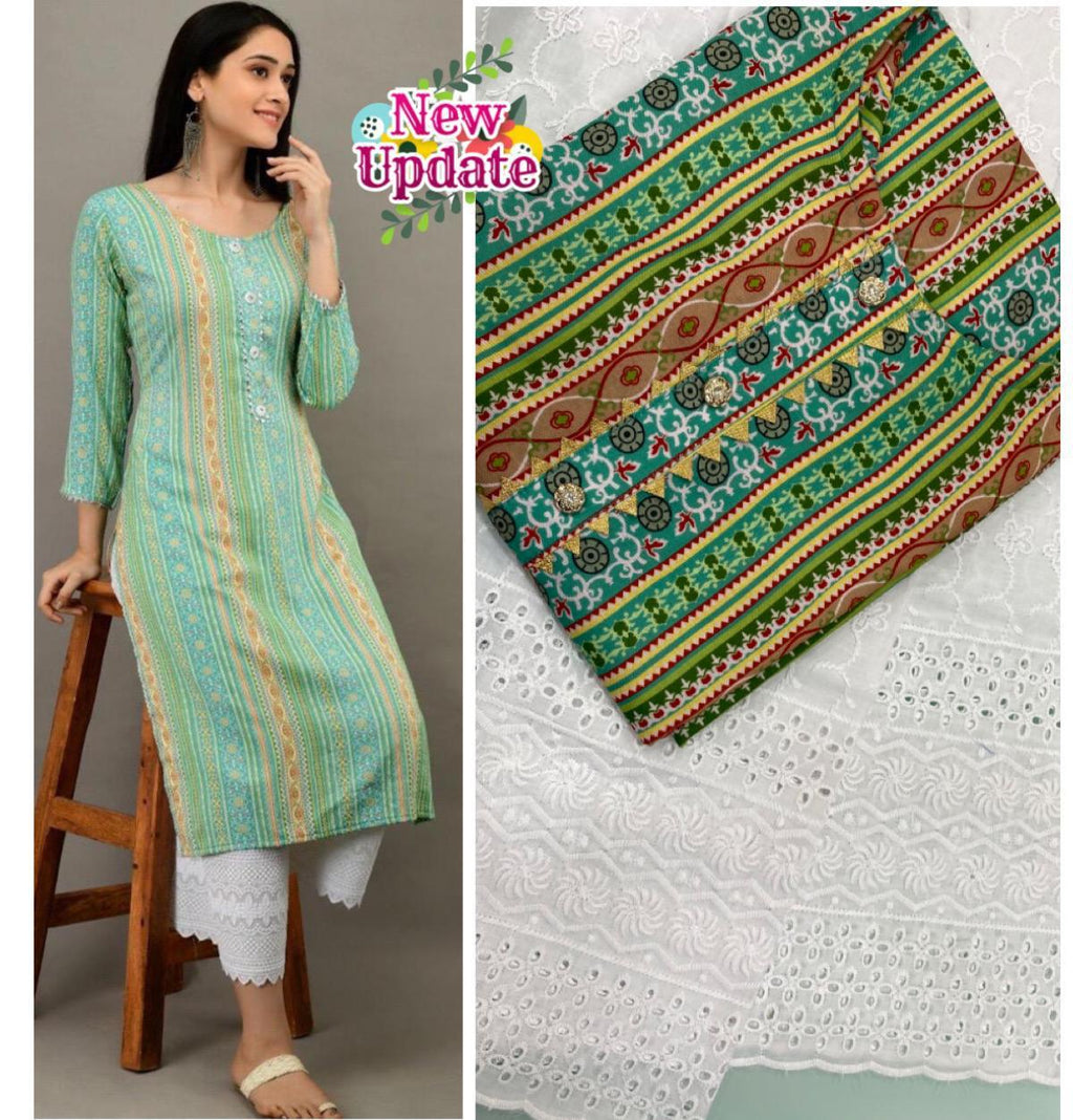 Green Mix Cotton Print Latest Designs Kurti Pallazo Suits Online