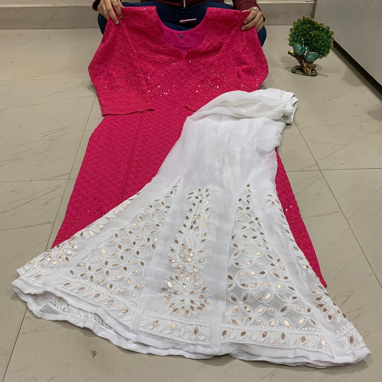 Bright Pink and White Sequin Chikankari Kurti Sharara Salwar Kameez