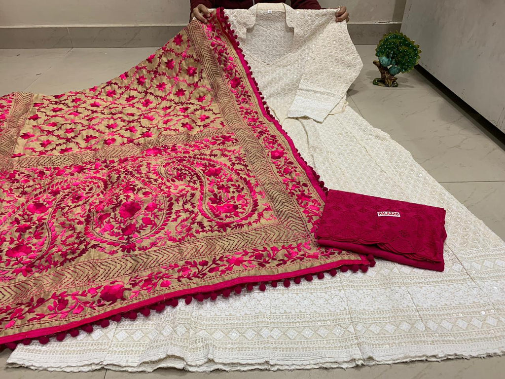 White Chikankari Sequins Work Anarkali Palazzo Online with Bright Pink Dupatta