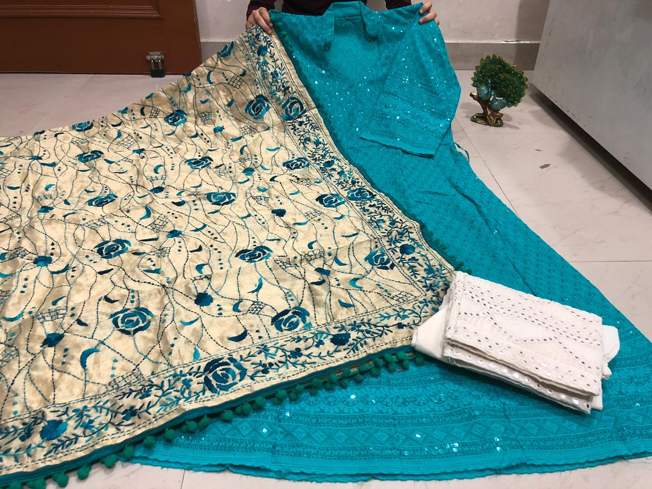 Teal Chickenkari Sequins Work Anarkali Palazzo Suits With Price