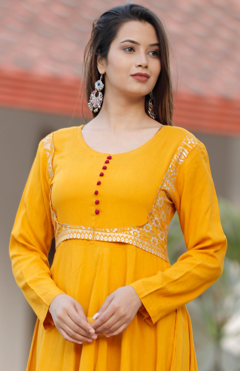 Yellow Rayon Anarkali Style Indian Kurtis Salwar Suits Online